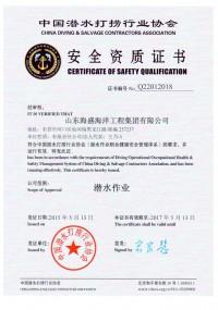 中国潜水打捞行业协会安全资质证书