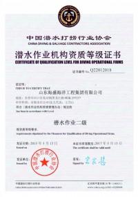 中国潜水打捞行业协会潜水作业机构资质等级证书